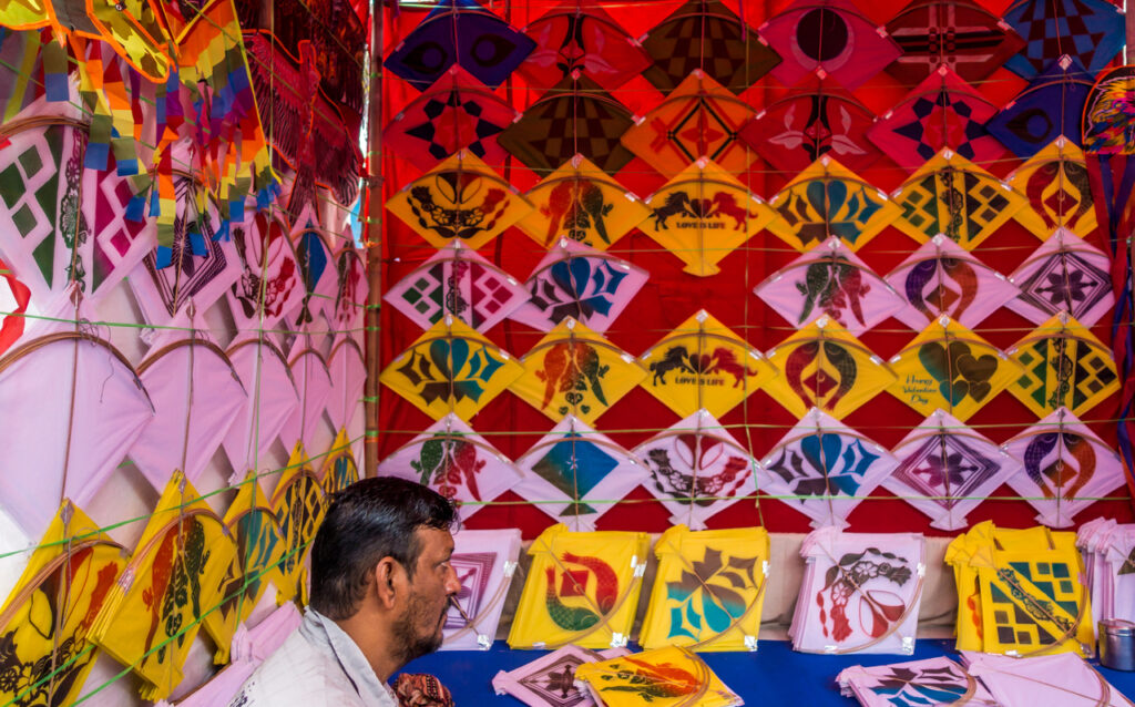 colorful kites at a shop for sankranti