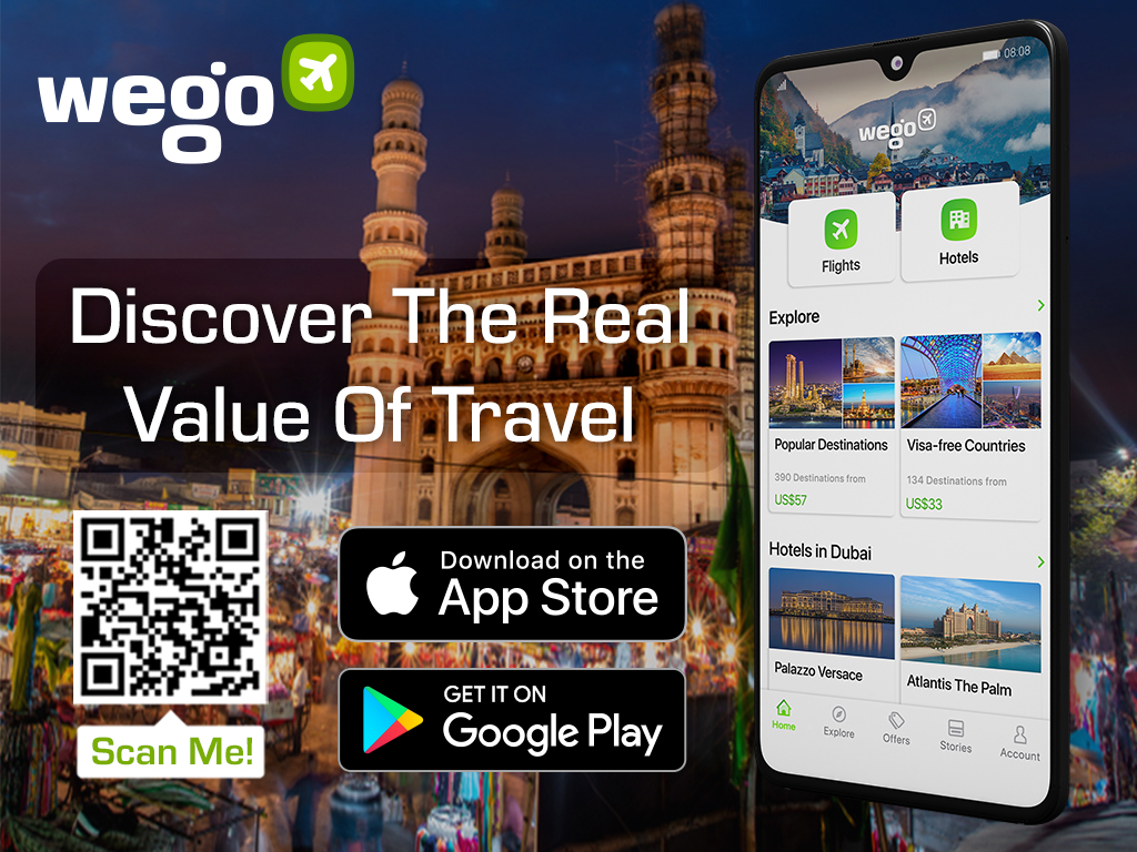 Hy derabad Char Minar at night- Wego travel app banner